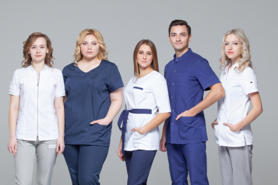 group of young medical professionals posing.