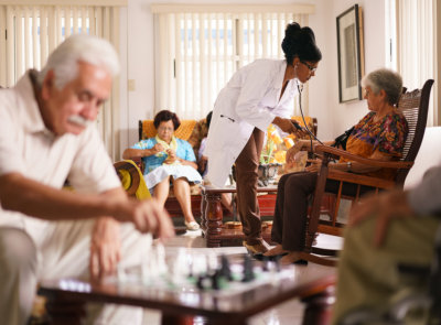 group of seniors in a homecare