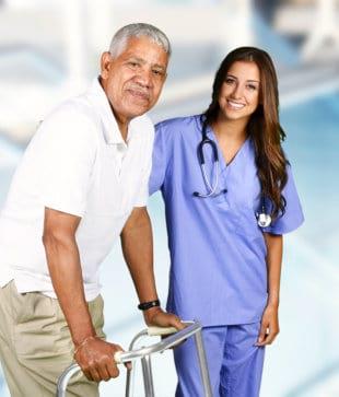 portrat of a nurse and senior man